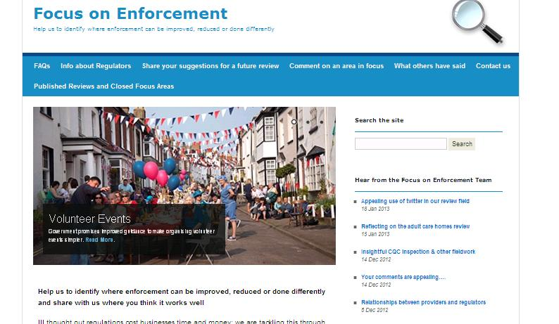 Screenshot of the Focus on Enforcement website.