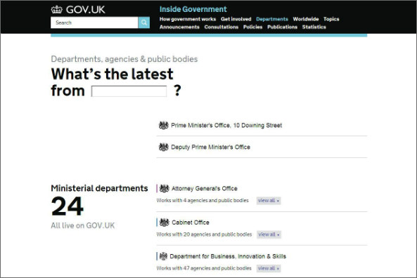 Screenshot of Inside Government.