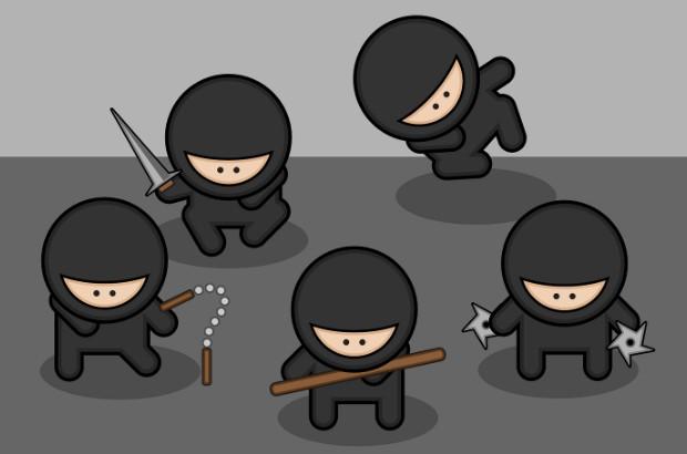 Cartoon ninjas (credit: StudioFibonacci/Openclipart)