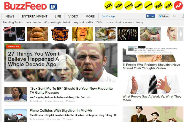 Screenshot of the Buzzfeed website.
