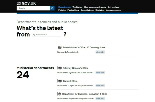 The 'All departments' page on GOV.UK.