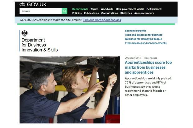 The BIS home page on GOV.UK.