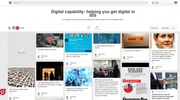 Screenshot of the digital capability Pinterest board.