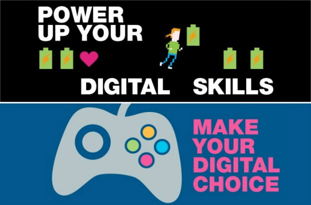 Graphic promoting the Digital fortnight event in the style of a video game.