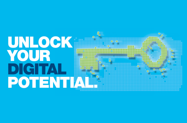 "Graphic promoting Digital Fortnight. Text says: ""Unlock your digital potential."""
