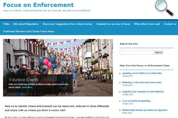Screenshot of Focus on Enforcement site