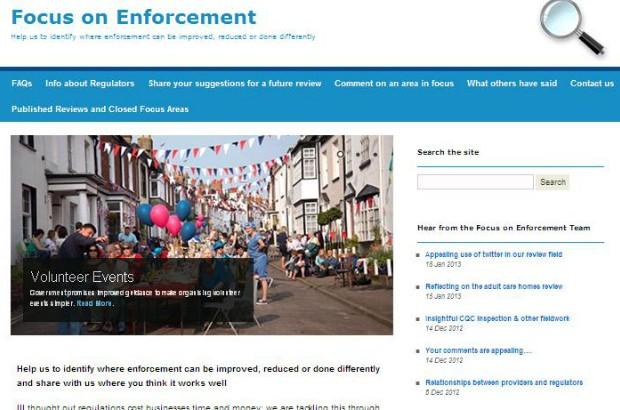 Screenshot of Focus on Enforcement site