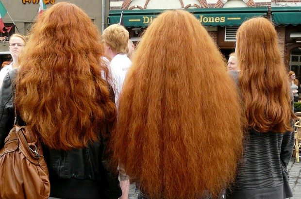 3 girls with long red hair, participants at Redhead Day 2012.