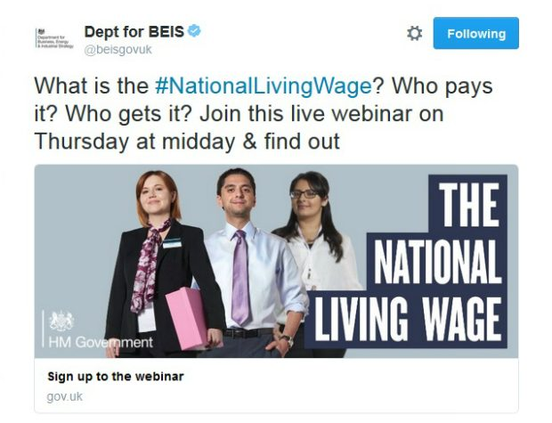 Twitter card for the National Living Wage