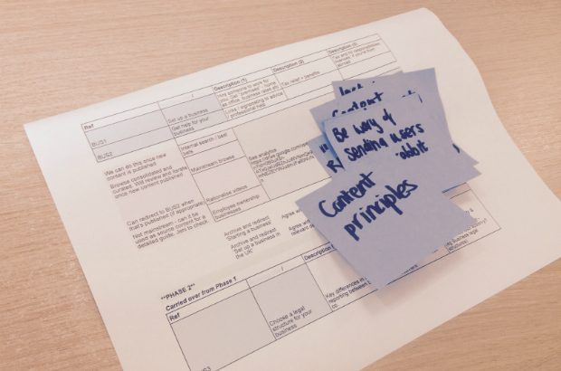 Project plan and post-its