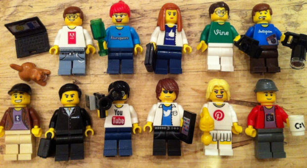 Lego mini figures depicting the main social media channels (Image courtesy of Jeremy Waite)